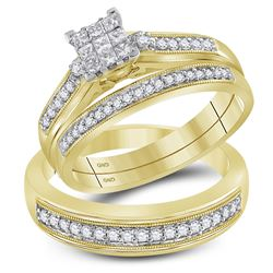 0.56 CTW His & Hers Princess Diamond Matching Bridal Ring 10KT Yellow Gold - REF-59M9H