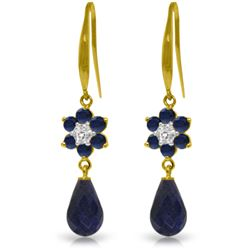 Genuine 7.61 ctw Sapphire & Diamond Earrings Jewelry 14KT Yellow Gold - REF-49R8P