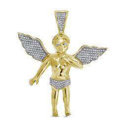 0.45 CTW Mens Diamond Charm Pendant 10KT Yellow Gold - REF-97X4Y