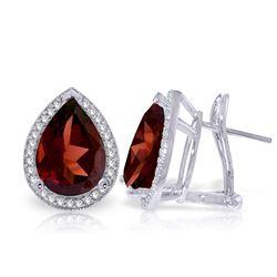 Genuine 8.12 ctw Garnet & Diamond Earrings Jewelry 14KT White Gold - REF-120F8Z