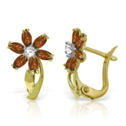 Genuine 1.10 ctw Garnet & Diamond Earrings Jewelry 14KT Yellow Gold - REF-36Y3F