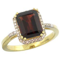 Natural 2.63 ctw Garnet & Diamond Engagement Ring 10K Yellow Gold - REF-33H8W