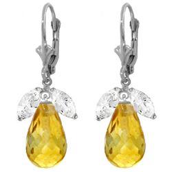 Genuine 14.4 ctw White Topaz & Citrine Earrings Jewelry 14KT White Gold - REF-46K7V