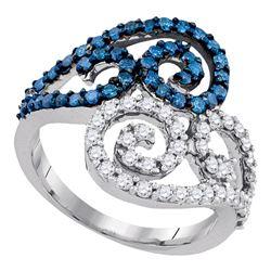 1 CTW Blue Color Diamond Swirl Ring 10KT White Gold - REF-67F4N