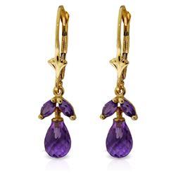 Genuine 3.4 ctw Amethyst Earrings Jewelry 14KT Yellow Gold - REF-26P6H
