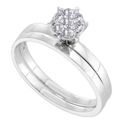 0.15 CTW Diamond Cluster Bridal Engagement Ring 10KT White Gold - REF-19Y4X