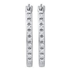 0.12 CTW Diamond Single Row Hoop Earrings 10KT White Gold - REF-18W2K
