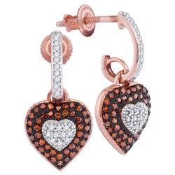 0.33 CTW Red Color Diamond Heart Dangle Earrings 10KT Rose Gold - REF-38N9F