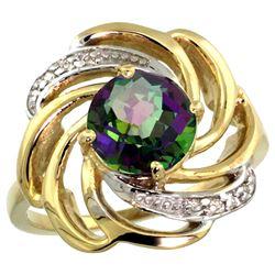Natural 2.25 ctw mystic-topaz & Diamond Engagement Ring 14K Yellow Gold - REF-57K8R