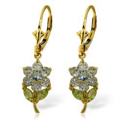 Genuine 2.12 ctw Aquamarine & Pearl Earrings Jewelry 14KT Yellow Gold - REF-47A4K