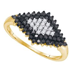0.50 CTW Black Color Diamond Cluster Ring 10KT Yellow Gold - REF-22Y4X