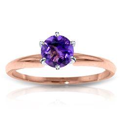 Genuine 0.65 ctw Amethyst Ring Jewelry 14KT Rose Gold - REF-26H9X