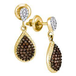 0.50 CTW Cognac-brown Color Diamond Teardrop Dangle Earrings 10KT Yellow Gold - REF-24X2Y