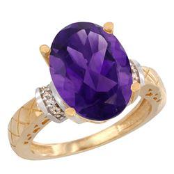 Natural 5.53 ctw Amethyst & Diamond Engagement Ring 10K Yellow Gold - REF-44M6H