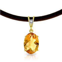 Genuine 7.56 ctw Citrine & Diamond Necklace Jewelry 14KT Yellow Gold - REF-35N5R