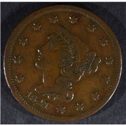 1841 LARGE CENT, VF/XF