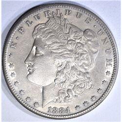 1884-S MORGAN DOLLAR, AU/BU