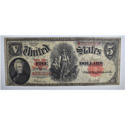 """1907 $5.00 """"WOODCHOPPER"""" NOTE F/VF"""