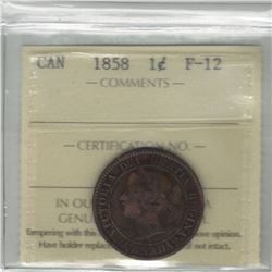 Canada 1858 Large Cent ICCS F12