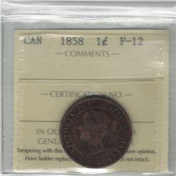 Canada 1858 Large Cent ICCS F12