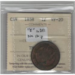 "Canada 1858 Large Cent ""E"" of DEI die chip. ICCS VF20"