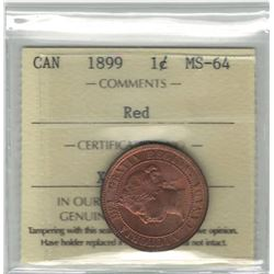 Canada 1899 Large Cent ICCS MS64 Red