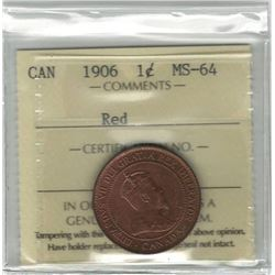 Canada 1906 Large Cent ICCS MS64 Red