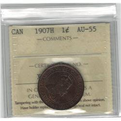 Canada 1907H Large Cent ICCS AU55