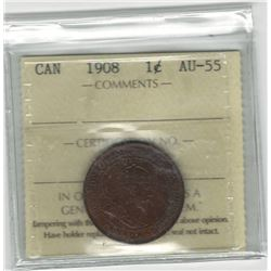 Canada 1908 Large Cent ICCS AU55