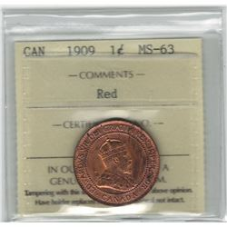 Canada 1909 Large Cent ICCS MS63 Red
