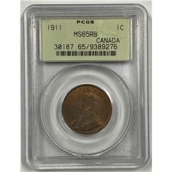 Canada 1911 Large Cent PCGS MS65 R& B