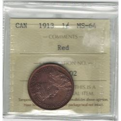 Canada 1913 Large Cent ICCS MS64 Red