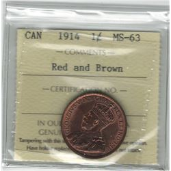 Canada 1914 Large Cent ICCS MS63 R&B