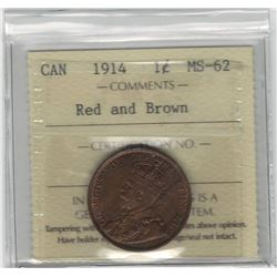Canada 1914 Large Cent ICCS MS62 R&B