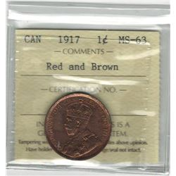 Canada 1917 Large Cent ICCS MS63 R&B