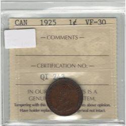 Canada 1925 Small Cent ICCS VF30