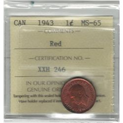 Canada 1943 Small Cent ICCS MS65 Red