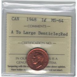 Canada 1948 Small Cent A to Deticle ICCS MS64 Red