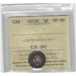 Canada 1872H 5 Cent Silver ICCS VF30