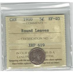 Canada 1910 5 Cent Silver Round Leaves ICCS EF40