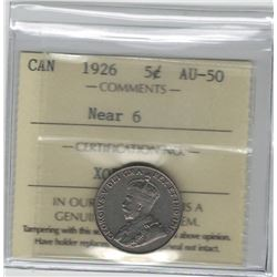 Canada 1926 5 Cent Near 6 ICCS AU50