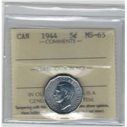 Canada 1944 5 Cent Victory ICCS MS65