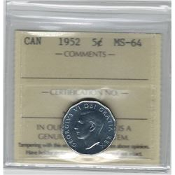Canada 1952 5 Cent ICCS MS64