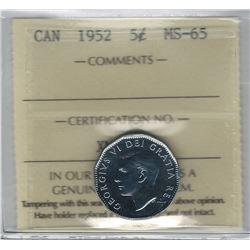 Canada 1952 5 Cent ICCS MS65