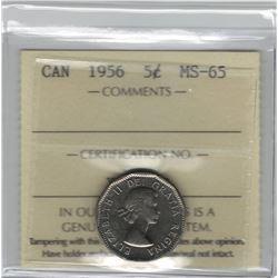 Canada 1956 5 Cent ICCS MS65