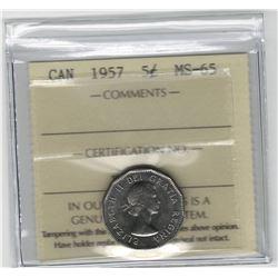 Canada 1957 5 Cent ICCS MS65