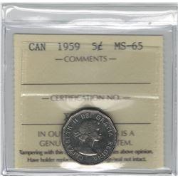 Canada 1959 5 Cent ICCS MS65