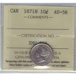 Canada 1871H Silver 10 Cent ICCS AU58