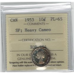 Canada 1953 Silver 10 Cent SF ICCS PL65 Heavy Cameo Rare