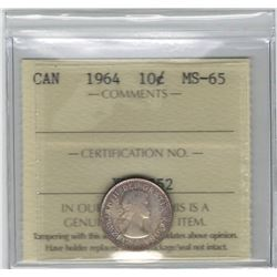 Canada 1964 Silver 10 Cent ICCS MS65